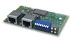 einbaufertige Kommunikationsschnittstelle für EtherNet/IP mit 2 RJ45-Anschlussbuchsen.